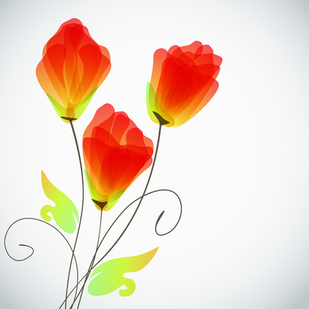 Abstract floral background, elegant tulips flowers. Vector border. Imagens - 75411791