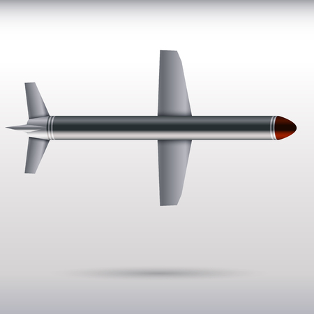 Cruise missile on a light background. vector illustration.