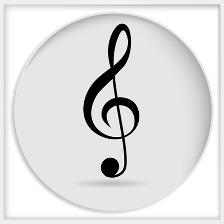 music symbol: Vector icon black treble clef isolated on white background. Music key. Musical symbol.