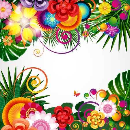 Flowers spring design background, floral pattern, vector illustration. Imagens - 75755187
