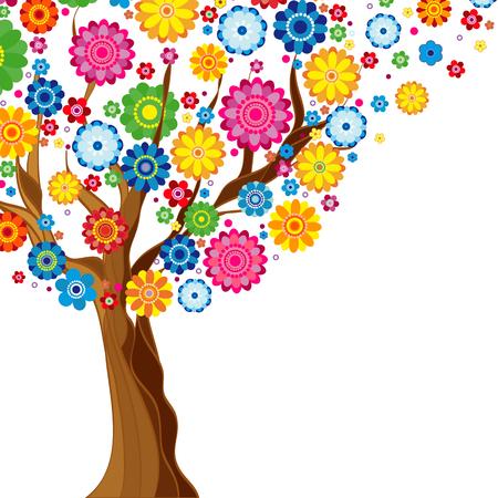 花春天开花的树在白色背景,花卉传染媒介例证。