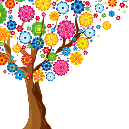 tree symbol: Flowers spring blooming tree on a white  background, floral vector illustration.