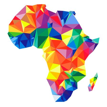 Continente abstracto de África de triángulos. Estilo de origami Vector patrón poligonal para su diseño.