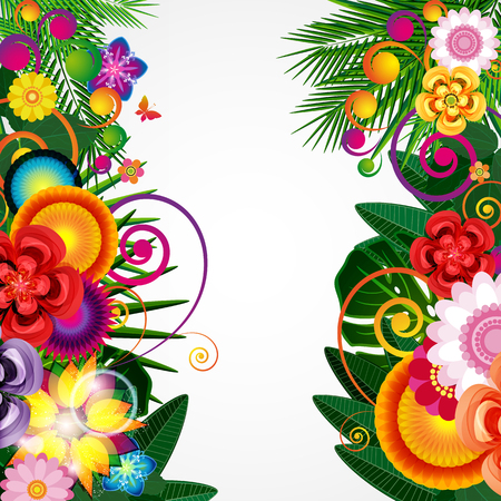 Flowers spring design background, floral pattern, vector illustration. Imagens - 76711410