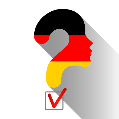 Elections in Germany.  Profile and question mark made from the flag. The sign of voting and the check of boxing.
