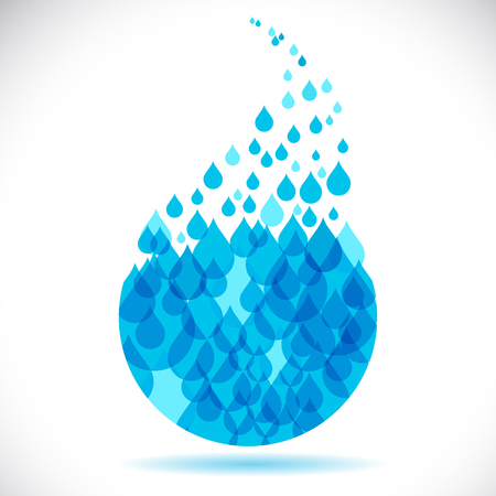 spill: Clean water blue drop made of small drops, vector illustration.