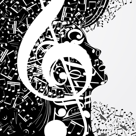 Abstract female profile composed of musical signs, notes. Musical poster with DJ, soul of music, cover for CD. Vector illustration.