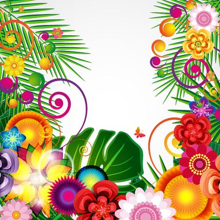 Flowers spring design background, floral pattern, vector illustration. Imagens - 77047571