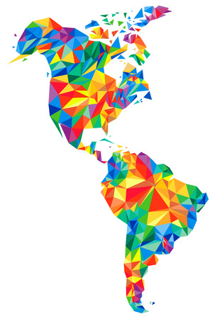 Abstract continents of North and South America from triangles. Origami style. Vector polygonal pattern for your design. Ilustração