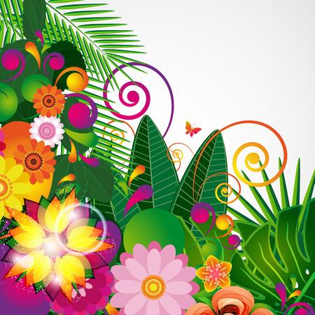 Flowers spring design background, floral pattern, vector illustration.