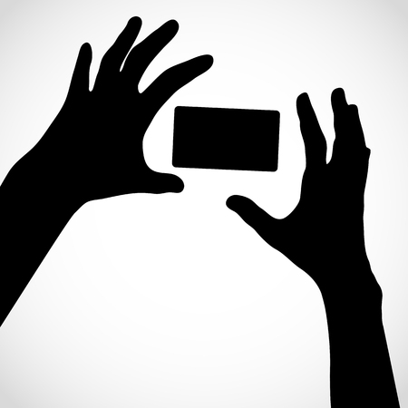 Two hands with fingers spread out and card. Vector silhouettes. Element for your design.
