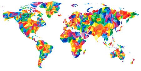 Abstract continents World Map from triangles. Origami style. Vector polygonal pattern for your design.