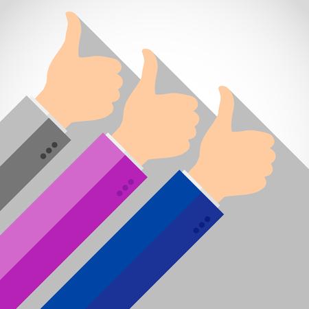 Hands with thumb up, like social media background, web network symbol, vector finger sign, flat icon design illustration.