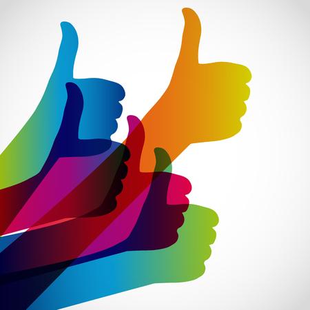 confirmed: Hands with thumb up, like social media background, web network symbol, vector finger sign, icon design illustration.