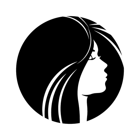 female girl: Beautiful woman profile silhouettes with elegant hairstyle, vector young female face design, beauty girl head with styled hair, fashion lady graphic portrait.