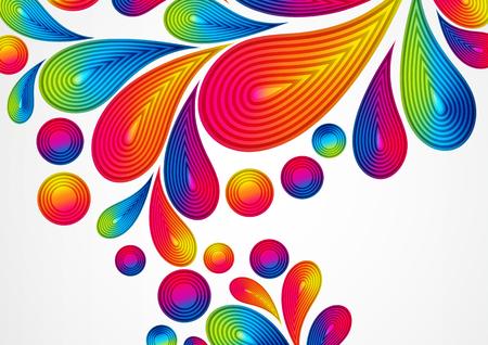 스트라이프 드랍스 스플래시, 벡터 컬러 디자인, 그래픽 일러스트와 함께 다채로운 추상적 인 배경. A4.