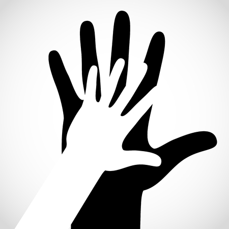 Zwarte kleur grote hand en witte kleine hand vector concept. Help symbool handen vector steun embleem. Vector handen pictogram. Onderwijs, gezondheidszorg, medisch, design element.