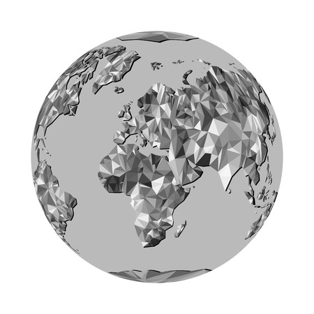 trave: Globe with all continents World Map from triangles. Origami style. Vector polygonal pattern for your design.