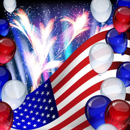Vector 4th July Independence day background with ballons, stripes and stars.