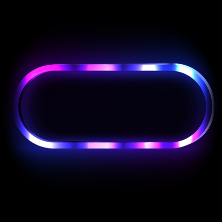 Colorful neon frame on a dark background, vector abstract illustration.