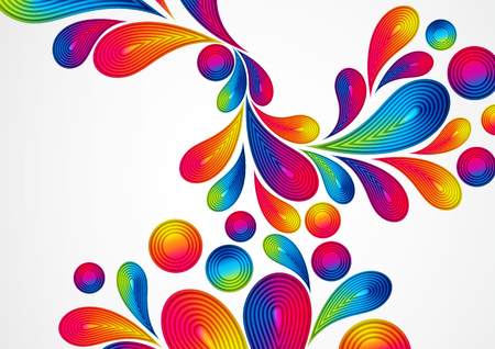 Colorful abstract background with striped drops splash, vector color design, graphic illustration. A4.
