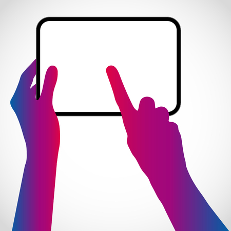 tablet pc in hand: The hands hold the tablet pc and touch the screen with your finger. Vector silhouette illustration.