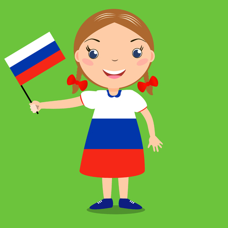 flag: Smiling child, girl, holding a russian flag isolated on green background. Vector cartoon mascot. Holiday illustration to the Day of the country, Independence Day, Flag Day.