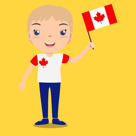 Enfant souriant, garçon, tenant un drapeau du Canada isolé sur fond jaune. Mascotte de dessin animé de vecteur. Illustration de vacances à la fête du pays, fête de l'indépendance, fête du drapeau. Vecteurs