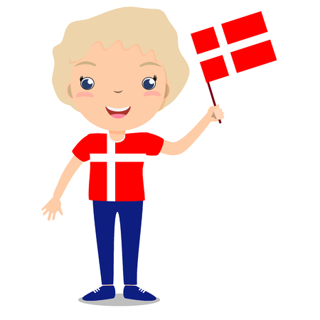 boy smiling: Smiling child, boy, holding a Denmark flag isolated on white background. Vector cartoon mascot. Holiday illustration to the Day of the country, Independence Day, Flag Day.