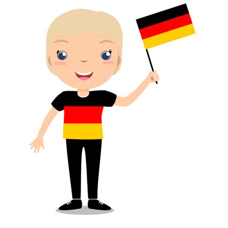 Glimlachend kind, jongen, die een vlag van Duitsland houden die op witte achtergrond wordt geïsoleerd. Vector cartoon mascotte. Vakantieillustratie aan de Dag van het land, Onafhankelijkheidsdag, Vlagdag.