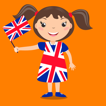 Smiling child, girl, holding a Great Britain flag isolated on orange background. Vector cartoon mascot. Holiday illustration to the Day of the country, Independence Day, Flag Day.