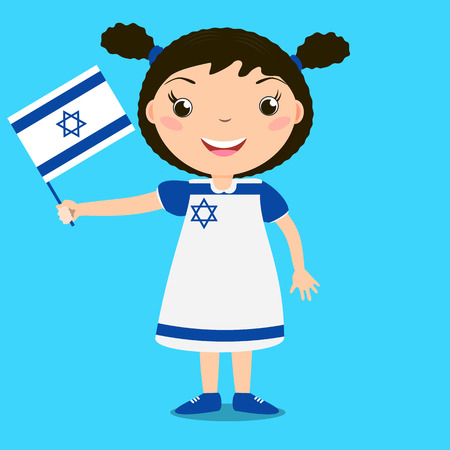 Smiling child, girl, holding a Israel flag isolated on blue background. Vector cartoon mascot. Holiday illustration to the Day of the country, Independence Day, Flag Day.