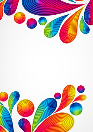 ounce: Colorful abstract background with striped drops splash, vector color design, graphic illustration. A4.