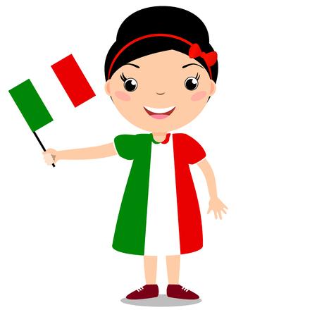 Enfant souriant, fille, tenant un drapeau Italie isolé sur fond blanc. Mascotte de dessin animé de vecteur. Illustration de vacances à la fête du pays, fête de l'indépendance, fête du drapeau.
