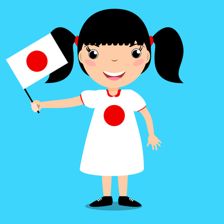 flag: Smiling child, girl, holding a Japan flag isolated on blue background. Vector cartoon mascot. Holiday illustration to the Day of the country, Independence Day, Flag Day.