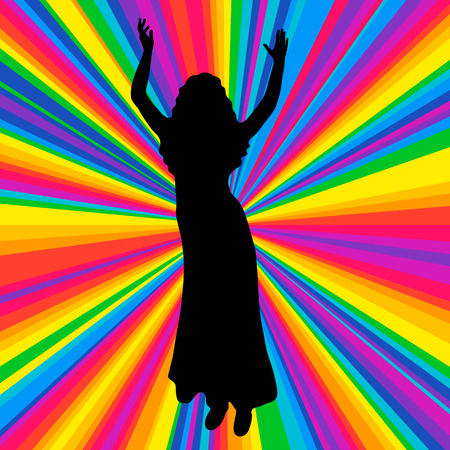 Silhouette dancing human, vector music battle party, disco ray background. Stock Photo