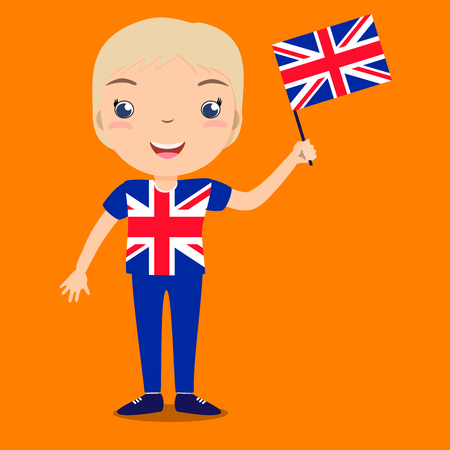 Smiling child, boy, holding a Great Britain flag isolated on orange background. Vector cartoon mascot. Holiday illustration to the Day of the country, Independence Day, Flag Day.