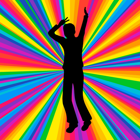 lonely person: Silhouette dancing human, vector music battle party, disco ray background. Stock Photo