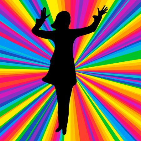 solo: Silhouette dancing human, vector music battle party, disco ray background. Stock Photo