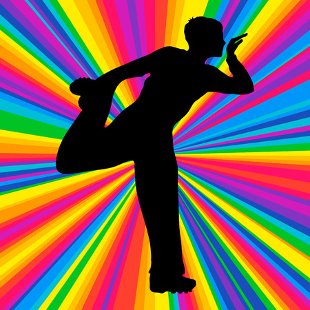subculture: Silhouette dancing human, vector music battle party, disco ray background. Stock Photo