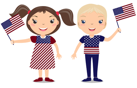 boy smiling: Smiling childern, boy and girl, holding a American flag isolated on white background. Vector cartoon mascot. Holiday illustration to the Day of the country, Independence Day, Flag Day.