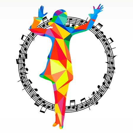 subculture: Poligon silhouette dancing human and melody circle, vector music battle party background.