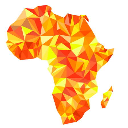 Abstract continent of Africa from orange, amber, yellow triangles. Origami style. Vector polygonal pattern for your design.