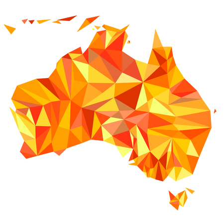 flat earth: Abstract continent of Australia from orange, amber, yellow triangles. Origami style. Vector polygonal pattern for your design.
