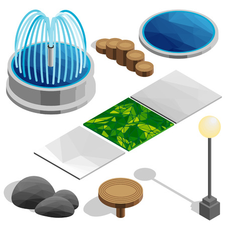 Isometric vector elements for the park, city, country house. Fountain, pool, lamp, table, stones, game, tile, grass. Vector landscape design icons for game, map, print, ets. Isolated on white background.