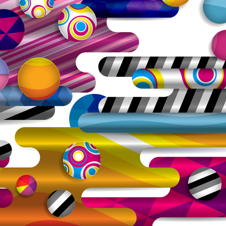 ball point: Futuristic vector abstract background made of rounded shapes, stripes, lines and circles with fashion patterns.