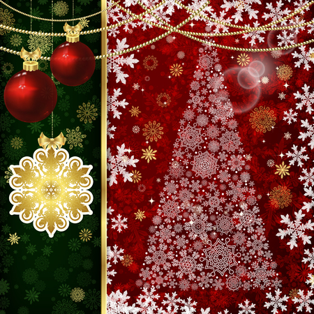 Christmas background with Christmas balls, decor elements and snowflakes.