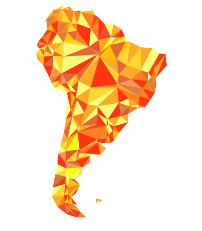 Abstract continent of South America from triangles. Origami style. Vector polygonal pattern for your design. Illustration