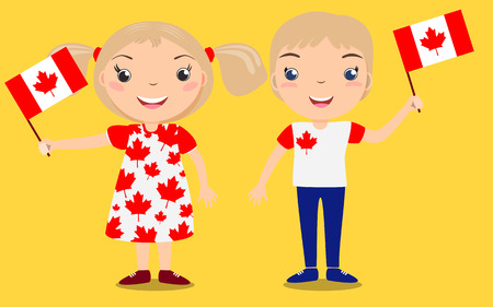 Smiling children, boy and girl, holding a Canada flag isolated on yellow background. Vector cartoon mascot. Holiday illustration to the Day of the country, Independence Day, Flag Day.