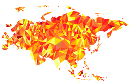 Abstract continent of Eurasia from triangles. Origami style. Vector polygonal pattern for your design.